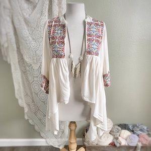 AQUA | Boho Embroidered Waterfall Kimono Cardigan